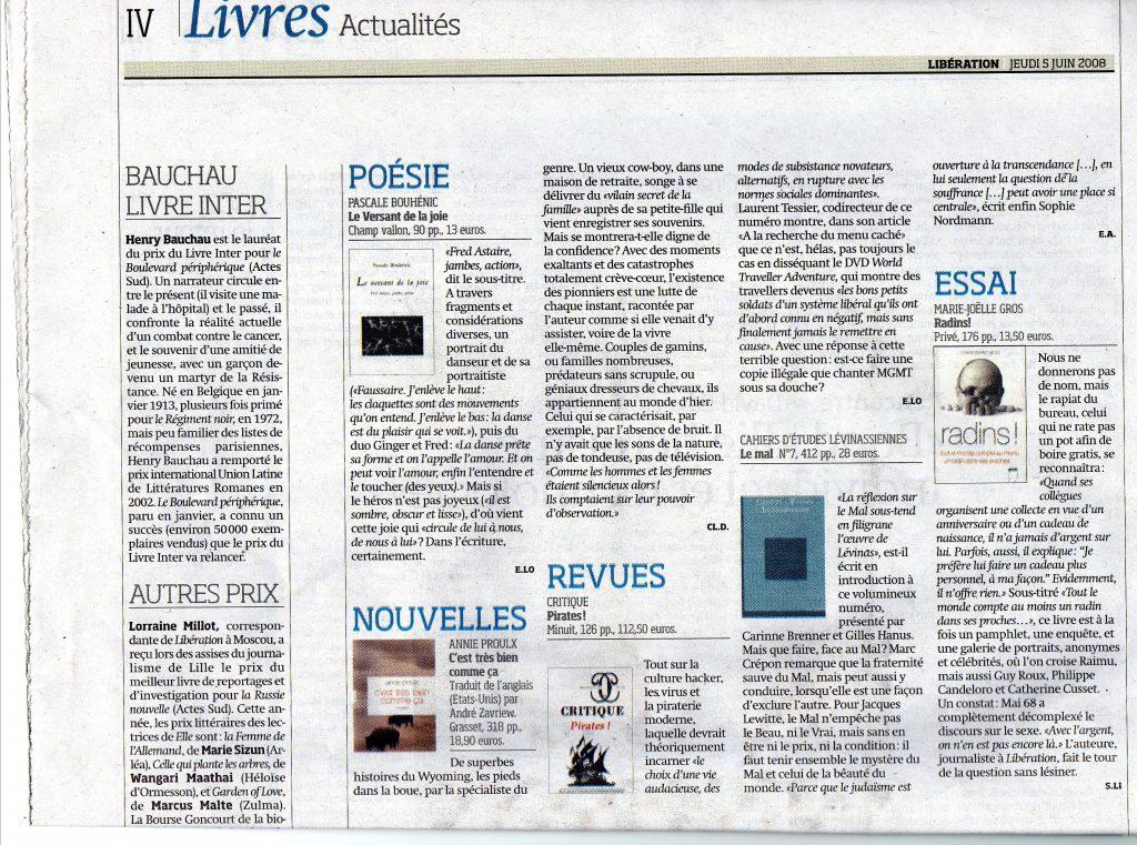 Libération, 5 juin 2008